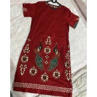 Baju Batik Wanita / Dress Batik Cheongsam Merah Merak All Size
