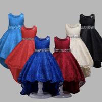 Girl party dress. Baju pesta anak cewek gaun brukat hitam merah biru