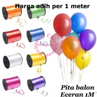 Pita tali balon kado ecer eceran 1 M merah gold putih pink ungu