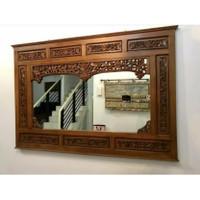 pigura cermin rias hias ukiran krepyak kayu jati