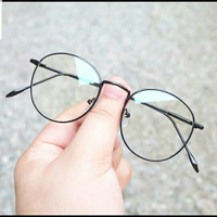 kacamata wanita model korea bulat besi FREE lensa antiradiasi komputer