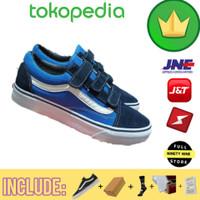 Sepatu Pria Vans Premium / Vans Oldskool Velcro Navy Blue Casual Kets