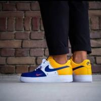 Sepatu Nike Air Force One 07 LV8 Premium Yellow Blue