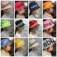 topi anti corona anak / topi + mika anak / face shield anak ready