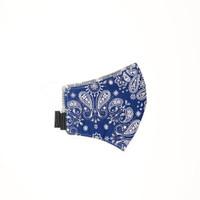 Masker Paisley Bandana Reversible Glow in The Dark Blue