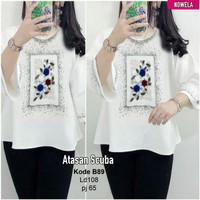 baju blouse wanita. atasan scuba asli cantik warna putih motif elegan
