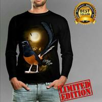 T-shirt pria kaos cowo lengan panjang gambar burung murai batu