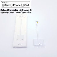 Kabel Splitter Iphone 3 in 1 Adapter Dual Lightning + 3.5mm Audio Port