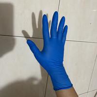 Sarung tangan latex / karet warna biru isi 50pcs merek shamrock
