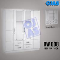 Lemari pakaian 4 pintu putih modern minimalis