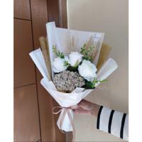 Buket Bunga Edelweis Rose White Gold / Buket Murah / Hadiah / Wisuda