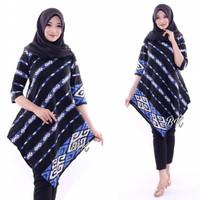 Baju tunik asimetris wanita batik katun jumbo ld 120 motif songket