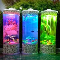 akuarium tabung mini portabel lampu hias tipe 2