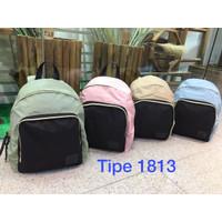 Tas backpack nylon - tas ransel 1813 - Merah Muda