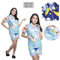 PIYAMA CELANA PENDEK HP / BAJU TIDUR KATUN WANITA | Doraemon Moon - Navy