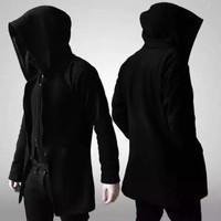 jaket jubah anime hitam polos - Hitam, M