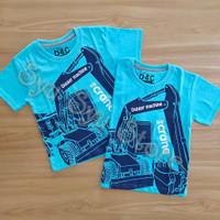 Baju Atasan Kaos Anak Laki Laki Cowok Beko Excavator Bulldozer Biru
