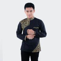 Baju Koko Batik Kombinasi - Hitam Emas, M