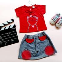 Baju Setelan Anak Perempuan motif Kucing Pita 1-4 tahun