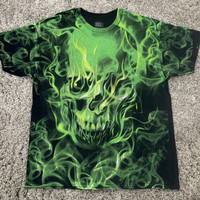 Baju Kaos Tshirt Social Media Green Fire Skull Grafiti Vintage Ori
