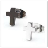 Anting Salib Hitam Pria Wanita Cross Earrings Titanium Steel Tindik