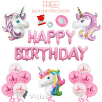PAKET Dekorasi Balon Ulang Tahun Happy Birthday Pegasus - UNICORN 02