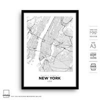 New York City Map Art 3 Minimalis Simple Wall Art Poster Peta Frame A3