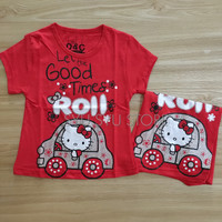 Baju Atasan Kaos Anak Perempuan Hello Kitty Glitter Merah Roll