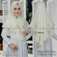 Hijab khimar instant Bordir bahan ceruti _ ready hijau l