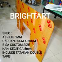 Pembatas akrilik 5mm, Partisi acrylic, Sekat acrylic Custom size - 60x60