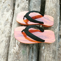 sandal kayu jati minimalis/ bakiak Jepang/ terompah