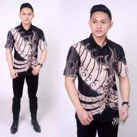 baju batik pria keren slim motif rumput laut