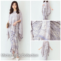 Batik set (2 pcs): Blouse kelelawar + rok renda