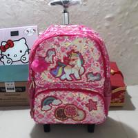 koper sequin unicorn polo/tas sequin troli/tas anak cewe sd