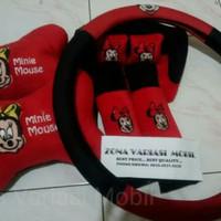 bantal Mobil headrest car 3in1 +sarung stir MINi mouse