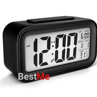Jam Meja Digital / Jam Weker / Alarm Clock - Hitam