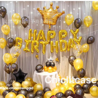 Paket set balon exclusive birthday ulang tahun fancy elegan gold black