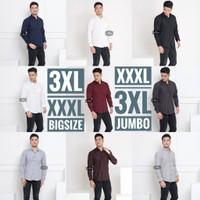 Baju Kemeja Polos Pria Big Size XXXL 3XL Triple XL Aneka Warna Jumbo - Hitam, L