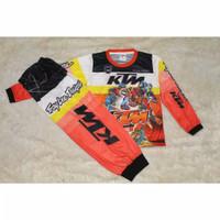 setelan baju anak balap motorcross KTM racing orange murah