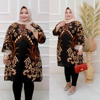 Baju batik tunik atasan wanita super jumbo ld 140 motif borobudur