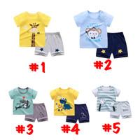 Baju anak laki laki import kaos katun santai 1 set lucu nyaman - Size L (4-5thn), Jerapah