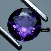 Batu Amethyst Purple 8mm Round Facet Natural Permata Kecubung Ungu Tua