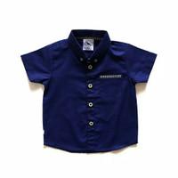 Baju Kemeja Atasan Anak Bayi Laki Laki Polos Biru Navy Murah Keren Lis