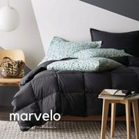 Marvelo Bedcover Sprei Set Katun Polos Warna Hitam Single Bed 100 cm