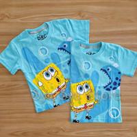 Baju Atasan Kaos Anak Laki Laki Cowok Spongebob Sponge Bob Biru