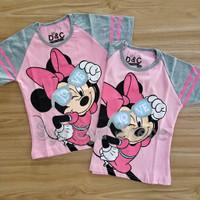 Baju Atasan Kaos Anak Perempuan Disney Minnie Mouse Pink Abu