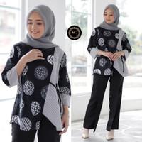 Baju Batik Blouse Kombinasi Motif Koin