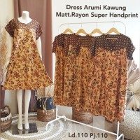 Dress Arumi Kawung Batik Rayon Super Handprint Nyaman Adem dipakai