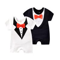 Baju Baru Lahir Romper Baby Boy Jumper Tuxedo Dasi Kupu-Kupu