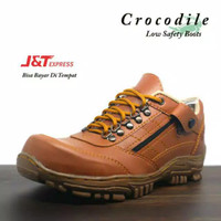 [ COD ] sepatu boots pria ujung besi crocodile pendek